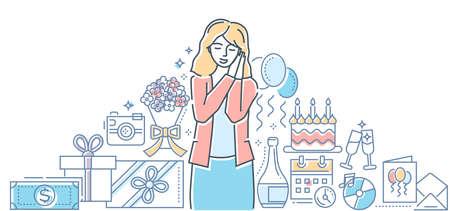 Happy birthday - colorful line design style illustration