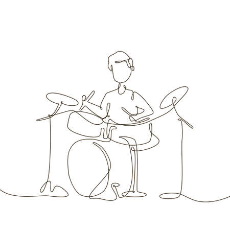 Schoolboy playing drums - one line design style illustration 向量圖像