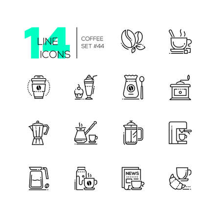 Coffee set - line design style icons