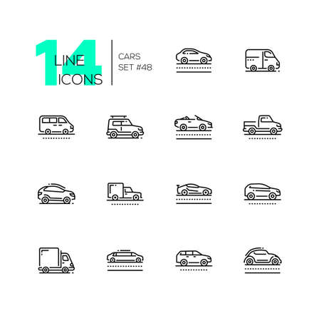 Cars - set of line design style icons