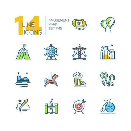 Amusement park - set of line design style colorful icons Illustration