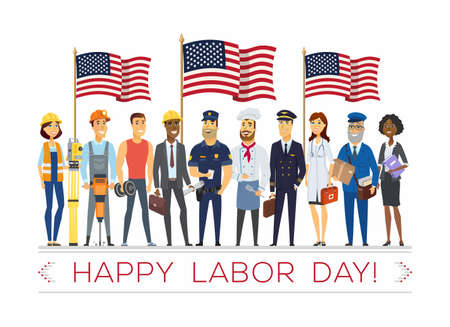 Happy labor day - modern vector colorful illustration Ilustracja