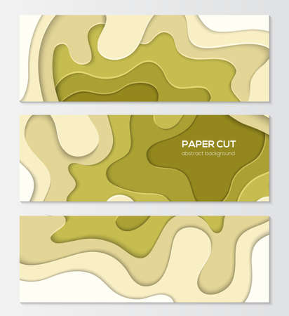 Green abstract layout - set of modern colorful vector posters on white background with place for your information. Lovely texture and olive colors. Three banners, flyer, card, invitation templates Illusztráció