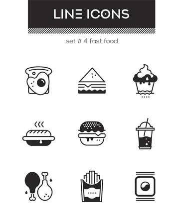 Fast food - set of line design style icons isolated on white background. High quality images for a cafe, restaurant, shop. Egg sandwich, toast, cupcake, hotdog, donut, chicken, french fries, sushi Иллюстрация