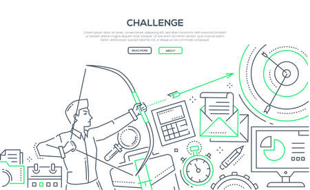 Challenge - modern line design style illustration on white background with place for your information. An image of a young ambitious businessman hitting the target. Goal achievement concept Foto de archivo - 114894076