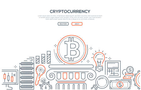 Cryptocurrency - line design style illustration on white background with place for your text. High quality composition with cryptocurrency symbol on a podium, key, money, rates, loupe, gear, server