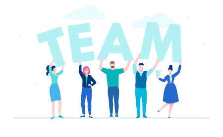 Creatief team - platte ontwerp stijl kleurrijke illustratie op witte achtergrond. Een compositie met zakenlieden, schattige kantoormedewerkers met grote letters. Mooie blauwe kleuren. Teambuilding concept