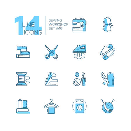 Sewing workshop - set of line design style icons, blue pictograms on white background. Machine, mannequin, scissors, tape measure, iron, pin, bobbin, needle and thread, buttons and zip, clew, hanger