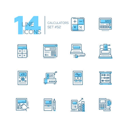 Calculators - modern line design icons set. High quality blue pictograms. Different tools for counting, infographic charts, office supplies, abacus. Financial concept