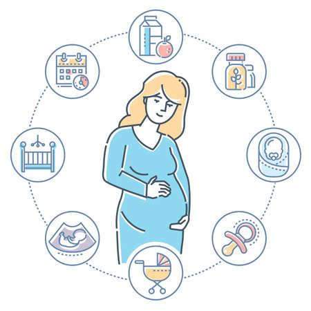 Embarazo - Ilustración de estilo de diseño de línea colorida sobre fondo blanco. Composición de alta calidad con una mujer joven que espera un bebé, un conjunto de iconos relacionados con el nacimiento, el carro, el niño pequeño, la comida sana