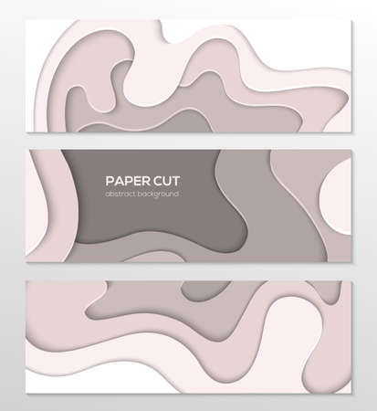 Grey abstract layout - set of paper cut vector posters on white background with place for your information. Carving art in warm colors. Three banners, flyer, card, invitation templates
