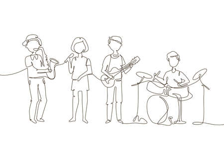 School music band - one line design style illustration on white background. A composition with cute characters, children playing musical instruments, drums, guitar, saxophone, singing Banco de Imagens