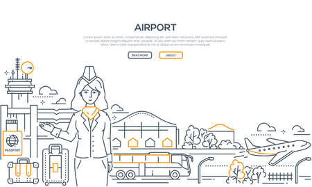 Airport - modern line design style illustration