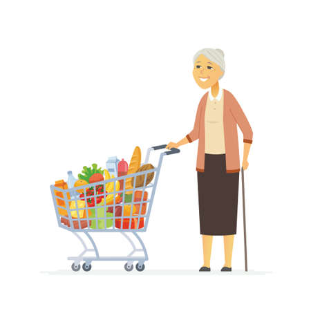 Senior woman with a shopping cart - cartoon people characters isolated illustration