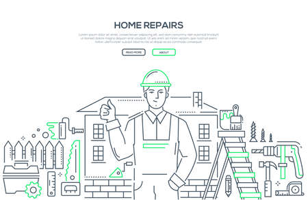 Home repair - line design style illustration on white background with place for your text. Banner with a general worker in overall and helmet and equipment, tools, drill, hammer, paints, brush Reklamní fotografie - 104921038