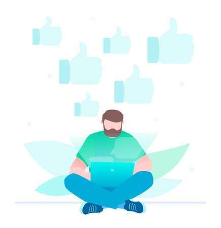 Get more likes - flat design style illustration on white background. A young male worker sitting with a laptop, surfing in the internet, social networking websites. Marketing strategy concept Stock Vector - 114894093