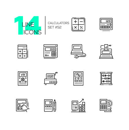 Calculators - modern line design icons set. High quality black pictograms. Different tools for counting, infographic charts, office supplies, abacus. Financial concept