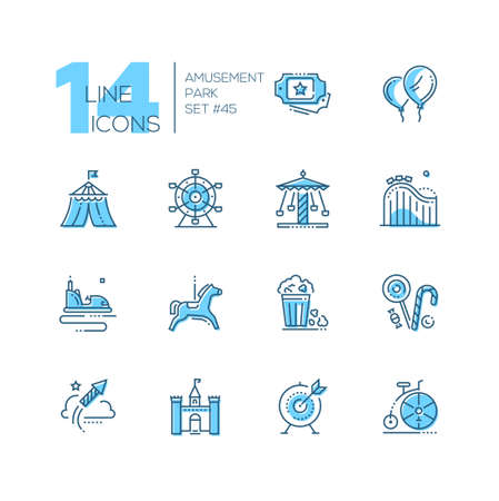 Amusement park - set of line design style icons isolated on white background. High quality blue pictograms. Tickets, balloons, circus, big wheel, carousel, roller coaster, pop corn, lollipops, castle Vector Illustration