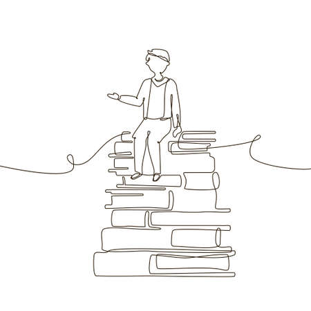Schoolboy - one line design style illustration on white background. A composition with a young boy sitting on books. Educational concept