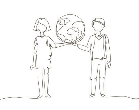 Schoolchildren holding a globe - one line design style illustration on white background. A composition with cute boy and girl standing together, open to the world 向量圖像