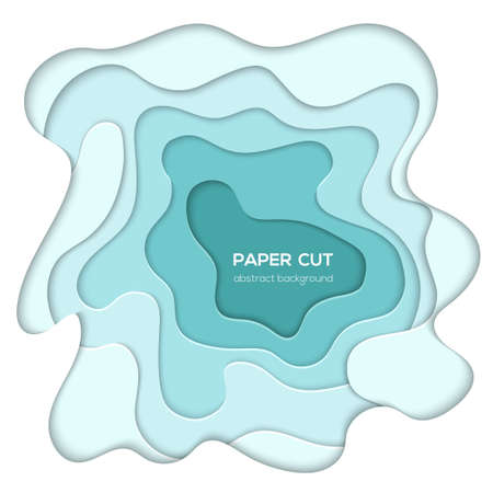 Turquois abstract layout - vector paper cut illustration on white background with place for your information or heading. Lovely sea wave texture. High quality carving art, card, invitation template
