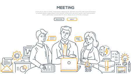 Business meeting - modern line design style illustration on white background with place for your text. Two young businessmen discussing their ideas, projects, plans with their boss, brainstorming