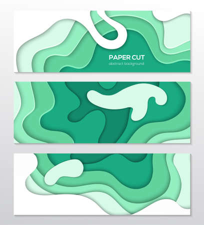 Green abstract layout - set of modern colorful vector posters on white background with place for your information. Paper cut shapes, emerald colors. Three banners, flyer, card, invitation templates Foto de archivo - 104941356