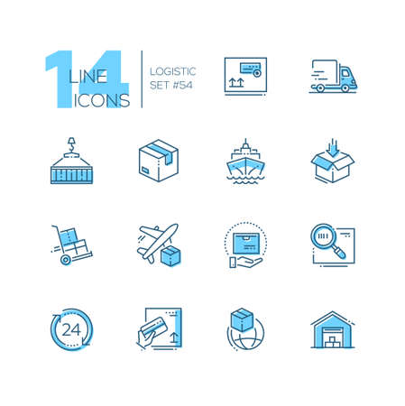 Logistics - modern thin line design icons set. High quality blue pictograms with water and air shipping, round the clock international service, package, delivery, barcode, payment by card, warehouse Illustration
