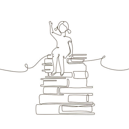 Schoolgirl - one line design style illustration on white background. A composition with a young girl sitting on books, raising her hand to answer. Educational concept Ilustración de vector