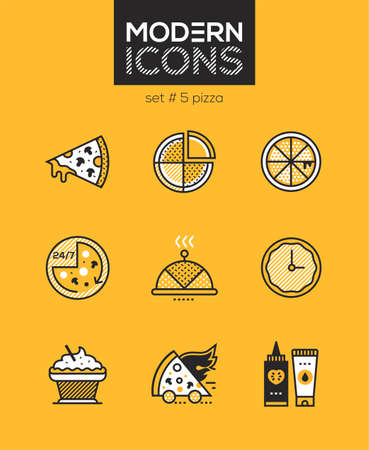 Pizza - set of line design style icons isolated on yellow background. High quality images for a cafe, online shop. Slice, preparation time, cupcake, sauces, serving dish. Perfect for mobile apps Иллюстрация