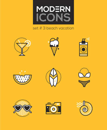 Beach vacation - set of line design style icons isolated on yellow background. Cocktail, ice cream, spray, watermelon, swimsuit, sunglasses, camera, surfboard and seashell. High quality collection
