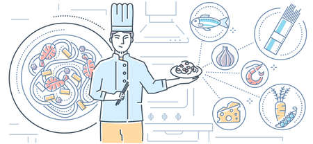 Thai food - colorful line design style illustration on white background. High quality composition with a cook holding plate with dish, images of traditional cuisine, noodles, seafood, fish, vegetables