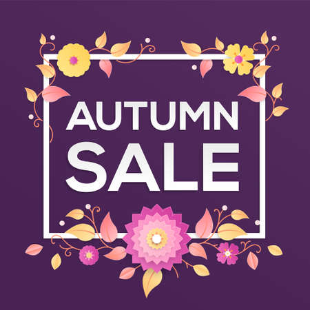 Autumn sale - modern vector colorful illustration on purple background. High quality composition with lovely paper cut flowers, floral ornament. Text in a white frame. Seasonal discount theme 向量圖像