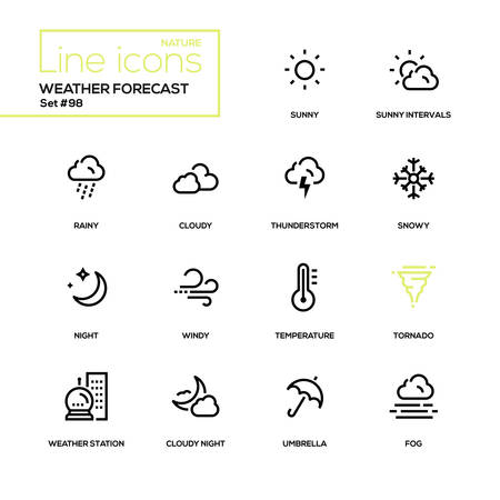 Weather forecast - modern line design icons set. High quality black pictograms. Sunny, rainy, cloudy, thunderstorm, snowy, night, windy, temperature tornado weather station umbrella fog