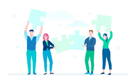 Business team doing a puzzle - flat design style colorful illustration on white background, blue color. A composition with cute characters, office workers putting pieces together. Teamwork concept Stok Fotoğraf