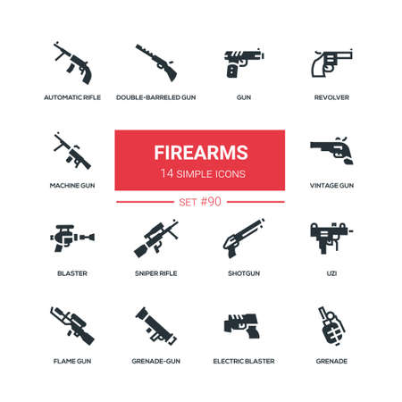 Firearms - flat design style icons set. High quality solid pictograms on white background. Revolver, automatic, flame and sniper rifle, double-barreled gun, electric blaster, shotgun, Uzi, grenade