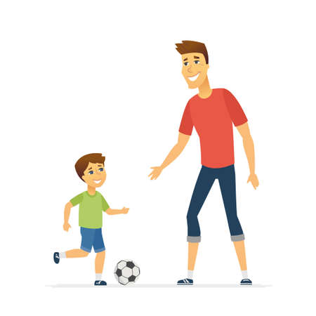 Father and son playing football - cartoon people characters illustration isolated on white background. Smiling young parent and his kid kicking a ball, having good time together. Happy family concept Stock Photo