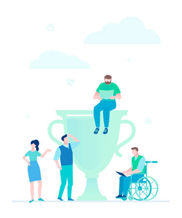 Business success - flat design style illustration on white background. Metaphorical composition with office workers standing next to a cup. Disabled person working with a laptop. Productive teamwork Stock Photo