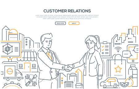 Customer relations - line design style illustration on white background. High quality banner with a businessman shaking hands with a woman. Useful enterprise, small business helping people concept Stock Photo