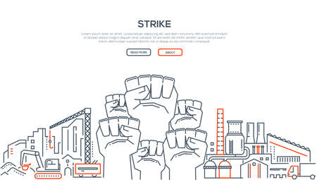 Strike - modern line design style illustration on white background with place for your text. Composition with a factory, equipment, vehicles, crane. High quality banner for a website
