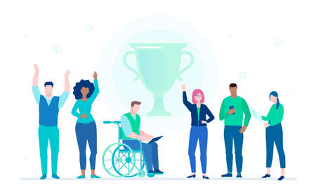 Business success - flat design style illustration on white background. A composition with office workers standing next to a cup, celebrating the victory. Disabled person working with a laptop
