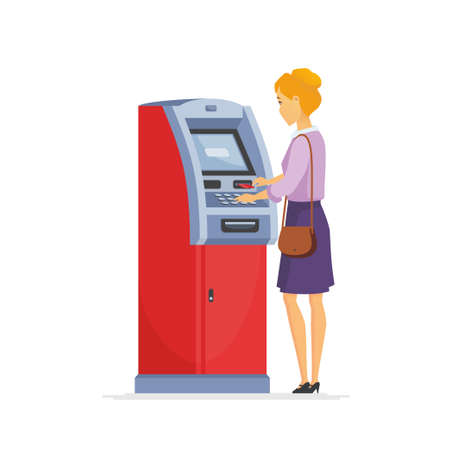 Young woman using ATM - cartoon people characters illustration isolated on white background. High quality composition with a blonde stylish girl putting a card into cash machine. Financial concept