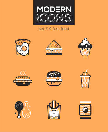 Fast food - set of line design style icons isolated on orange background. High quality images for a cafe, restaurant, shop. Egg sandwich, toast, cupcake, hotdog, donut, chicken, french fries, sushi Vecteurs