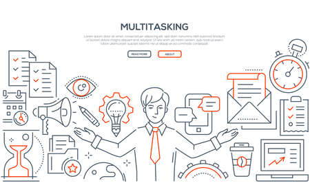 Multitasking - line design style illustration on white background with place for your text. Banner with a businessman, megaphone, lightbulb, check lists, mail, timer, hourglass, smartphone, coffee cup