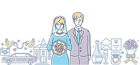 Wedding - colorful line design style illustration on white background. High quality composition with a happy young couple getting married, celebration symbols, rings, flowers, car. Family concept