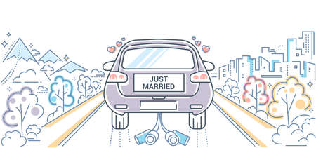 Honeymoon - colorful line design style illustration on white background. High quality composition with a wedding car with bride and groom going on the road. Happy marriage concept