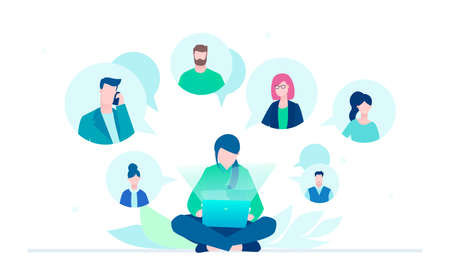 Business communication - flat design style illustration on white background. A young female worker sitting with a laptop chatting with her colleagues, partners. Perfect for your website, mobile apps