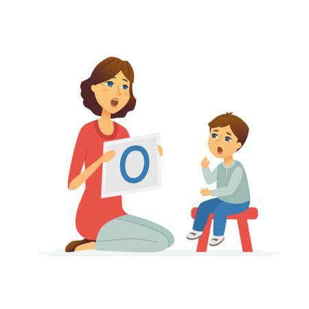 Logopeda - ilustracja postaci z kreskówek ludzi na białym tle. Młoda specjalistka uczy dziecko wymowy samogłoski, artykulacji. Dziecko siedzi na stołku Logo