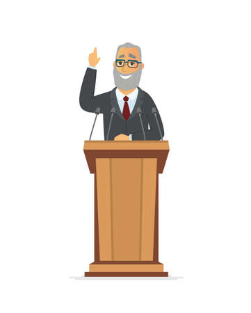 Senior politician - cartoon people character isolated illustration on white background. Composition with a speaker, businessman with grey beard standing behind a podium, giving speech to the audience Vettoriali