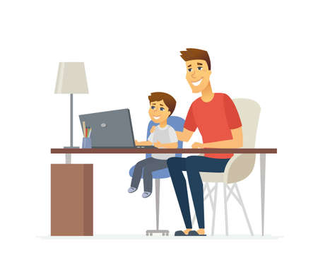 Père et fils à l'ordinateur portable - illustration de personnages de dessin animé de personnes isolé sur fond blanc. Jeune parent aidant son enfant à apprendre l'informatique. Enfant assis au bureau. Concept de famille